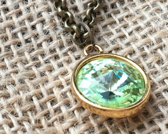 A Crisp Mint Green Swarovski Crystal Rivoli Necklace in Gold Setting and a Brass Chain
