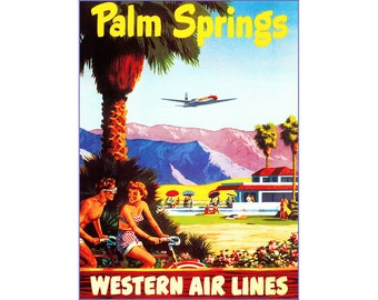 Palm Springs 1950 California Western Airlines Advertising Poster Print Retro Art Free US Post Low European Post Fast Shipping