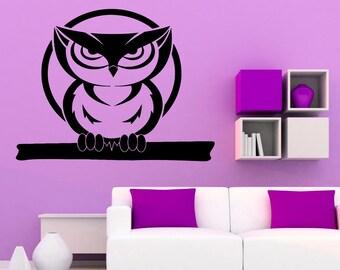 Owl Wall Decal Bird Vinyl Sticker Housewares Animal Art Modern Stylish Mural Interior (1ow2lw)