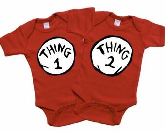 Thing 1 ang Thing 2 onesies, Twin Onesies, Baby Onesies, Preemie Onesies, New moms, baby shower gifts, photo props, Gender Reveal, Birthday