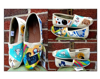 Bride's Love Story Shoes Nightmare Before Christmas Unique Wedding TOMS  Wedding Flats Personalized Gift Wedding TOMS Outdoor Wedding