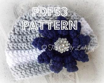 Squirly petal flower hat - PDF53 - newborn size only - crochet pattern - instant download