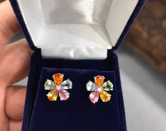 Rare multi-colored sapphire cluster earrings!!