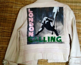 London Calling women's white leather jacket - Hand cut stencil spray painted coolness!