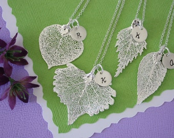 4 Silver Leaf Personalized Bridesmaids Necklaces, Bridesmaid Gifts, Real Leaf, Thank You Card, Initial Jewelry, Sterling Silver Charm