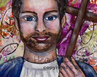 St. Philip the apostle, Saint Philip, confirmation gift, saint art, saint painting, inspirational piece, religious art, home decor