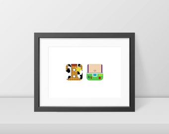 Minimal Toy Story Print - Woody and Buzz