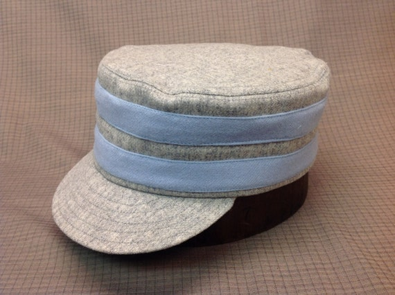Providence Greys Vintage Base Ball team cap. Light Grey wool box cap with two light blue wool bands. Any size available.