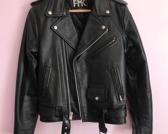 Vintage 90s Black Leather Moto Jacket by First Manufacturing Co. Inc.