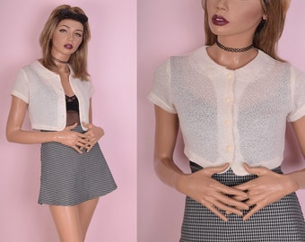 90s Button Down Cropped Top/ XS/ 1990s/ Short Sleeve