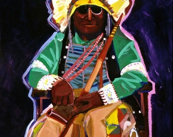 Rocking Chair Warrior, An Original Oil Painting, Southwest Art, New Mexico Painting, Indians, Wall Art, NM Decor, Painting on Canvas