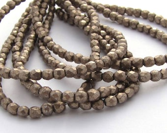 Saturated Metallic Hazelnut Brown 2mm Facet Round Czech Glass  Beads 50pc #1300