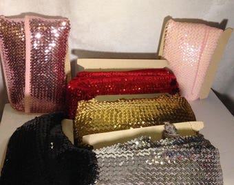 """Metallic Elastic Stretch Sequin Trim 5 yards of 10 Rows 4"""" Wide 6 Choices"""