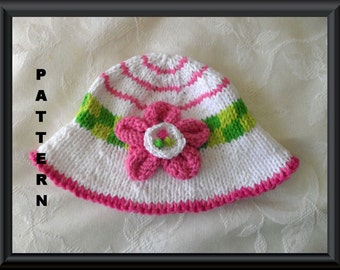 Knitted Hat Pattern Baby Hat Pattern Newborn Hat Pattern Infant Hat Pattern Knit Hat with Flower children clothing: CANDY STRIPER