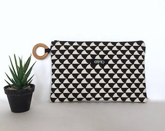 Canvas clutch, Canvas clutch bag, Canvas clutch purse, Zipper pouch, Zipper bag, Boho clutch, Boho bag, Fabric clutch, Fabric bag - Jenny