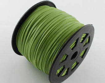 Lime green cord 3mm wide 1.5 mm thick
