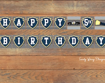 Police Birthday Banner Printable
