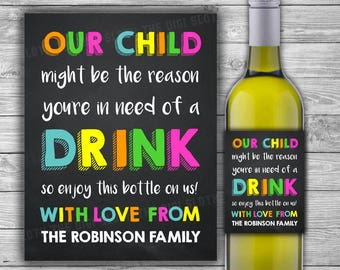 PRINTABLE - Teacher Gift - Wine Label - Our Child Might Be The Reason You Drink - Funny Gift for Teacher - Digital File - Teacher Day - W06