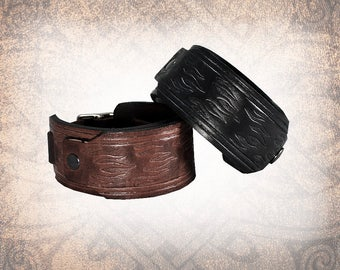 Flames - Leather Watch Cuff, Leather Watch Strap, Leather Watch Band, Covered Watch Cuff, Watch Cuff (1 Watch Cuff Only)