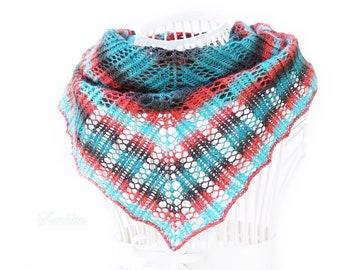 Knitted shawl, handmade triangular shawl wrap, oversized lace shawl, extra fine merino wool shawl, pink green shawl, wool scarf, for women