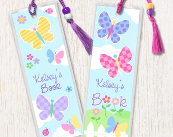 Kid's Personalized Butterfly Garden Bookmarks, Girl's Laminated Bookmarks, Bookmark Set of 2, Great Gift, Birthday Gift