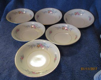 Laughlin Georgian Eggshell Cashmere Fruit Sauce Bowl Set of 6 Vintage Bowls