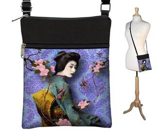 Small Cross Body Purse, Hipster Crossbody Bag, Sling Shoulder Bag,  eReader cover,  Asian Art Boho Bag, damask Geisha purple blue teal RTS
