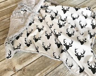 Minky Baby Blanket- Deer baby blanket- Baby Boy Blanket- Baby Girl Blanket- Woodland Blanket- Baby Blanket Minky