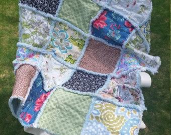 patchwork rag quilt throw