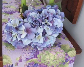 "Hydrangea Table Runner 72"" Reversible Purple Hydrangea Table runner Shabby Chic Table Runner Tan Hydrangea Table Runner Blue Hydrangea"