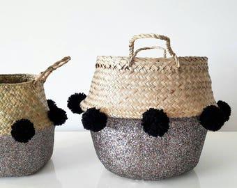 Basket Glitter tassels black or pink