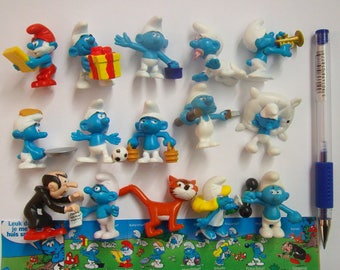 SMURFS Cake Topper 15 Figures Set Birthday Party Cupcakes Figurines Supplies