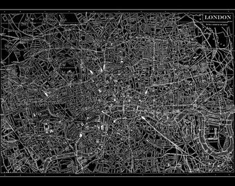 London Map - Street Map Vintage Poster Print Black