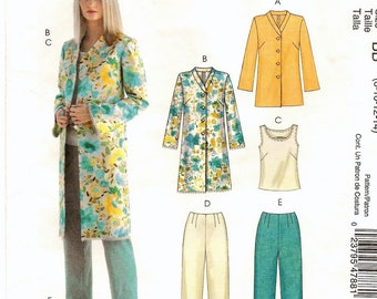 "A Jacket in 2 Length, Sleeveless Top, and Pants in 2 Lengths Pattern for Women: Uncut - Sizes 8-10-12-14, Bust 31-1/2"" - 36"" ~ McCall's 4788"