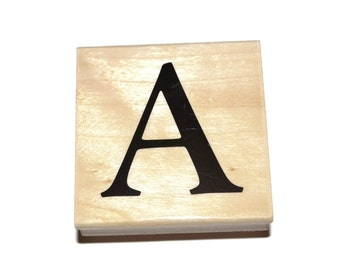 Letter A Rubber Stamp, Monogram Rubber Stamp, A Initial Rubber Stamp, Wood Mounted Rubber Stamp
