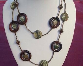 Rhyolite and Tiger Ebony Necklace