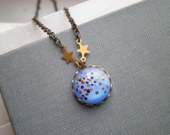 Outer Space Charm Necklace - Modern Space Art Cosmic Galaxy Layering Necklace, Enamel Dot Tiny Art Pendant Moon & Stars Jewelry Gift For Her