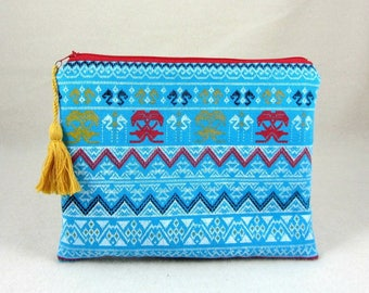 Zipper pouch, travel pouch, blue and red pouch, accessory pouch, zippered case, cotton fabric pouch, for her