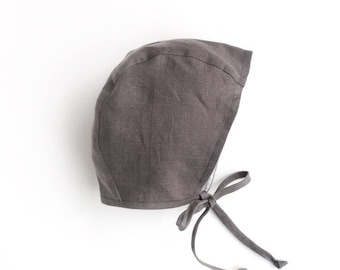 Reversible Grey/Stripy Linen/cotton baby bonnet for boy