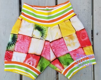 2/3T Summer Cuff Shorts - Toddler Shorts - Fruit Squares - Kiwi - Watermelon - Pineapple - Strawberry - Stripe Shorts