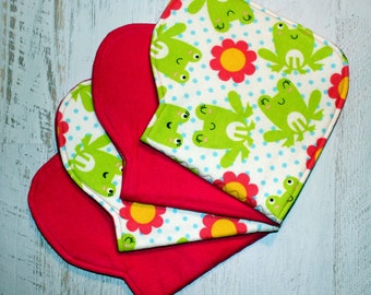 Burp Cloth Baby Shower Gift Set of Four Contoured Burp Cloths, Burp Rags, Gift for Girl Frogs Blue Dots Fuchsia Flannel, Absorbent