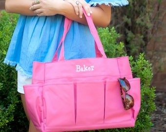 Pink Carry All - Organizer Tote - Monogram Bag - Crafting Tote - Mother's Day - Large Tote - Womens Travel Bag - Womens Bag - Gift for Her