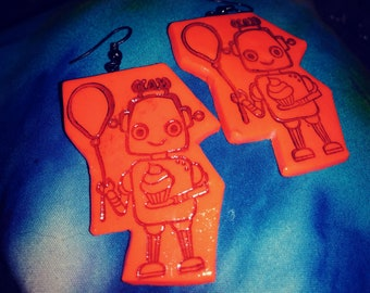 Handmade polymer clay robot earrings