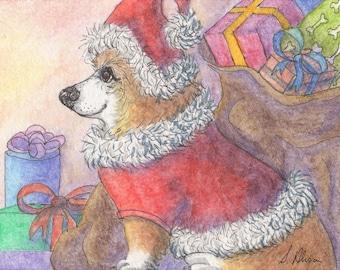 Pembroke Welsh corgi dog pup puppy 8x10 inch art print sable from a Susan Alison watercolor painting Christmas shopping Santa Claus presents