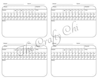 PRINTED TV Scheduler Traveler's Notebook / Fauxdori Insert-