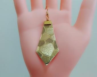 Gold leather earrings, Diamond shaped earrings, Golden geometric earrings, Wedding earrings, Bridal earrings, Dangle earrings, Jewellery