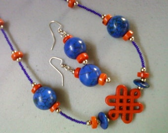 Blue and Orange Necklace and Earrings (0771)