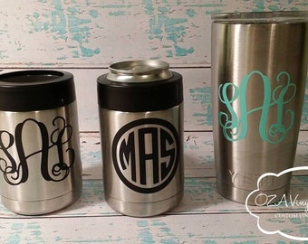 Cup Decal Monogram Cup Vinyl Decal Personalized Decals Cup