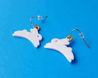 Bunny Earrings with Gold Plated Hooks, 3D Printed Hand Painted with Acrylic Paints