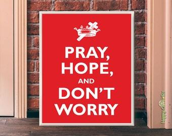 "Catholic Art // Padre Pio ""Pray, Hope, and Don't Worry"" Print (""Keep Calm and Carry On"" Parody)"